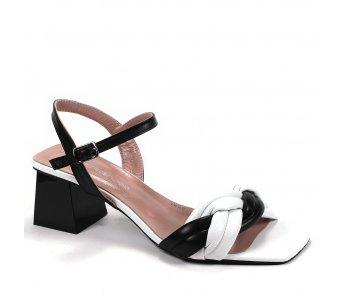 Dámske sandále AQ5008-393-389 BIELA/ČIERNA KOMB