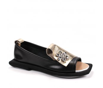 Elegantné topánky AQZ166/01-600 ČIERNA/ZLATA