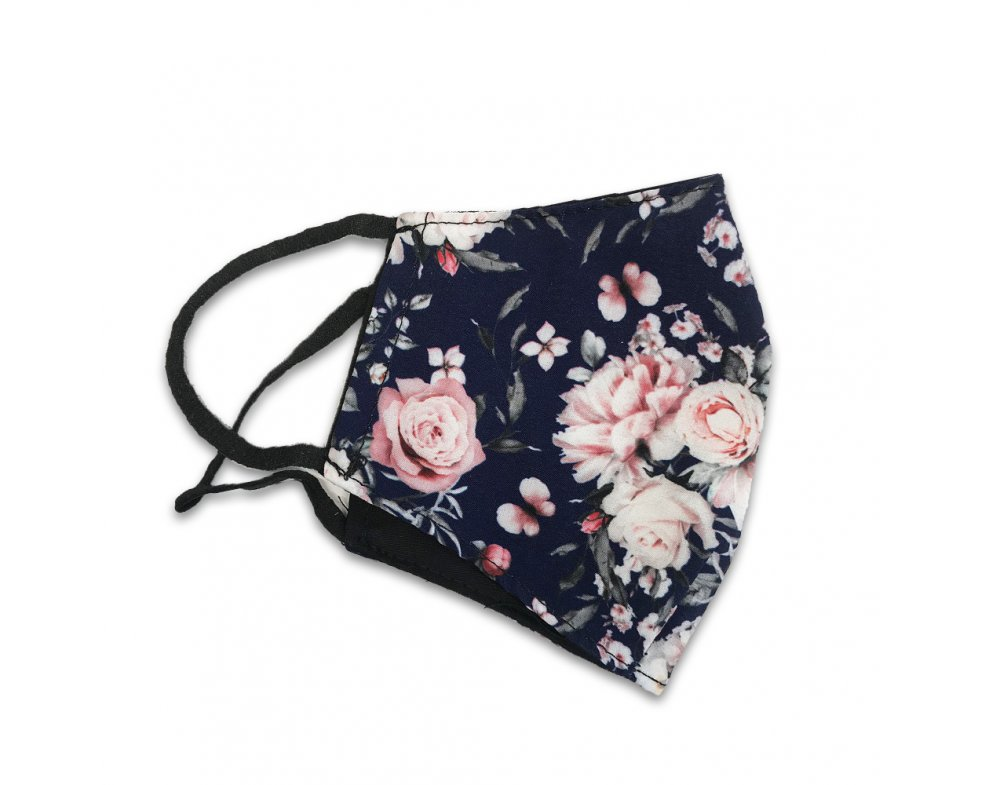 Textilná rúška Navy-flower
