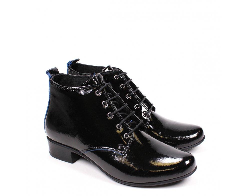 Elegantná členková obuv AL57-40-66 BLACK PATENT