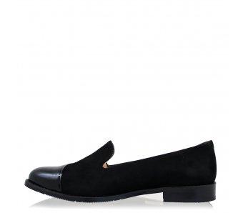Elegantné poltopánky RC4227/695 BLACK PAT/SUEDE