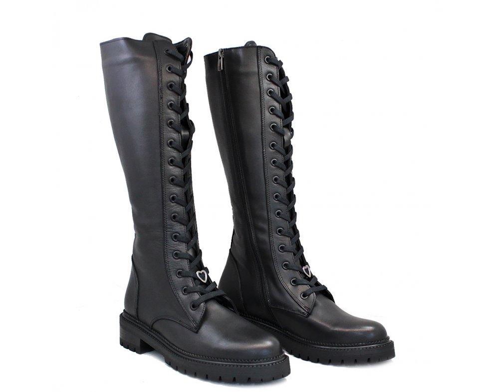 Štýlové čižmy MO1024-175 BLACK LEATHER