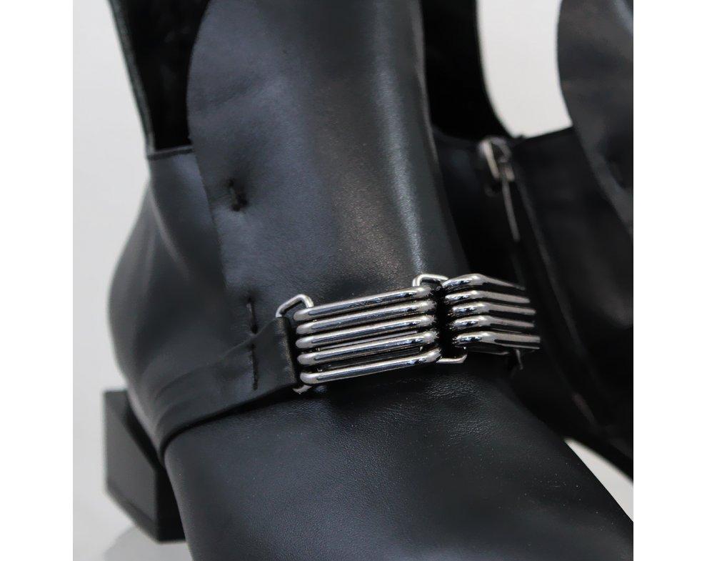Elegantné kotníky AQ3949-07 BLACK LEATHER