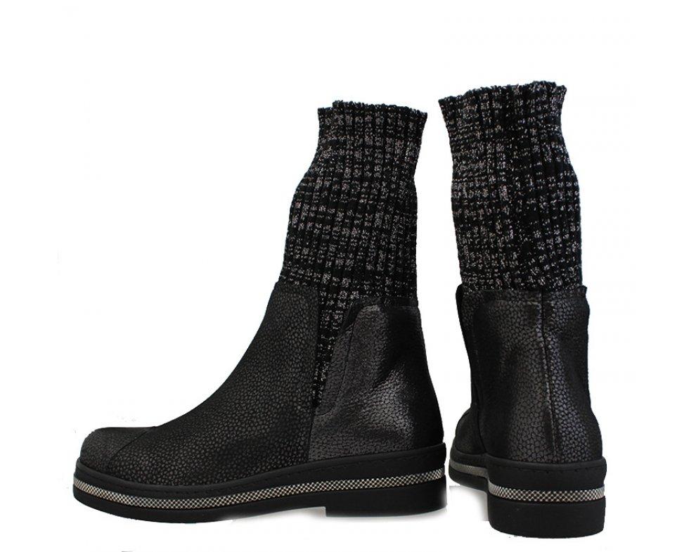 Ponožkovité kotníky LP0413-1848-BA519 ČIERNA SATEN
