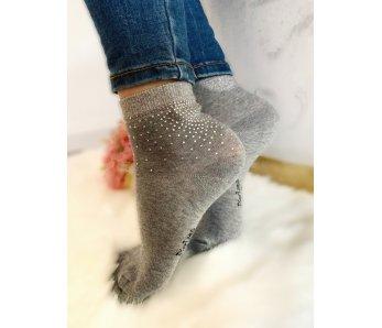Ponožky sivé so štrasom