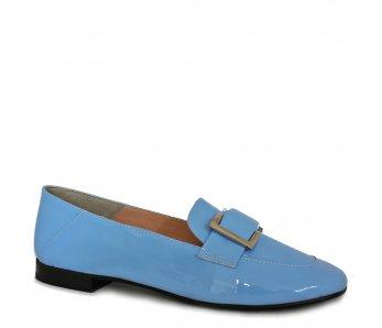 Elegantné mokasíny AQ8624 BABY BLUE LAK